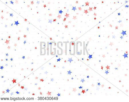American Independence Day Stars Background. Holiday Confetti In Usa Flag Colors For Patriot Day.  So