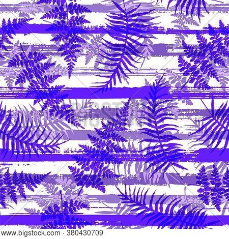 Stylish New Zealand Fern Frond And Bracken Grass Overlapping Stripes Vector Seamless Pattern. Bali E