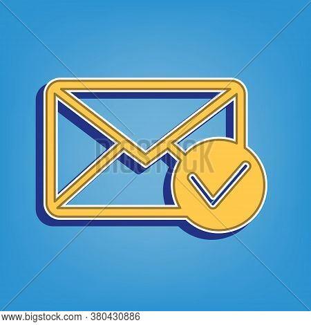 Mail Sign Illustration With Allow Mark. Golden Icon With White Contour At Light Blue Background. Ill