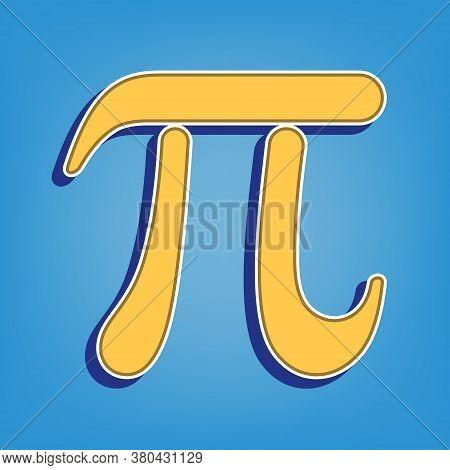 Pi Greek Letter Sign. Golden Icon With White Contour At Light Blue Background. Illustration.
