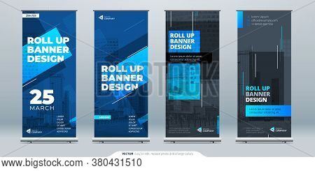 Blue Business Roll Up Banner. Abstract Roll Up Background For Presentation. Vertical Roll Up, X-stan