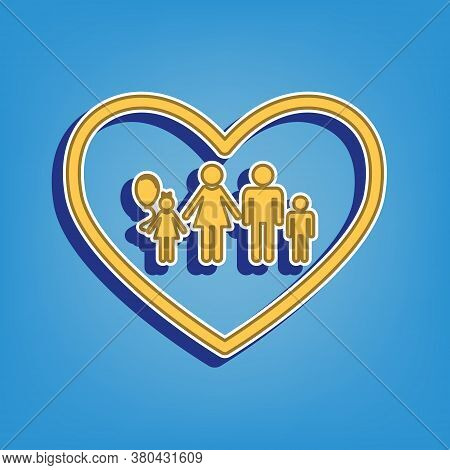 Family Sign Illustration In Heart Shape. Golden Icon With White Contour At Light Blue Background. Il