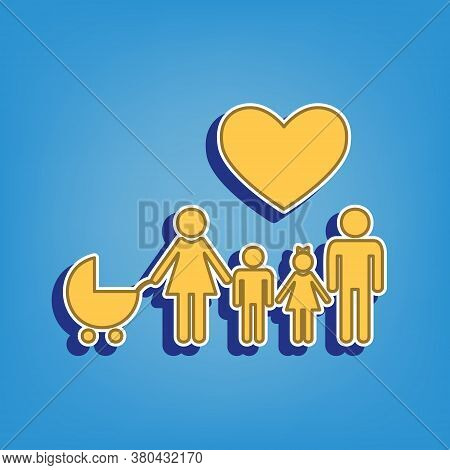 Family With Heart. Husband, Wife With Baby And Childrens. Golden Icon With White Contour At Light Bl