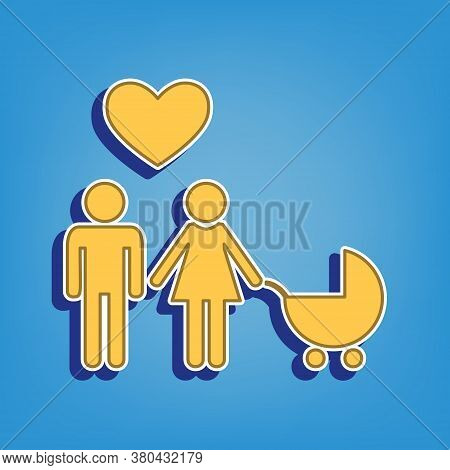 Family With Heart. Husband, Wife With Baby. Golden Icon With White Contour At Light Blue Background.