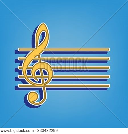 Music Violin Clef Sign. G-clef. Golden Icon With White Contour At Light Blue Background. Illustratio