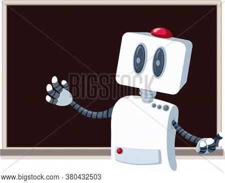Teacher Robot In Front Of A Blackboard Cartoon