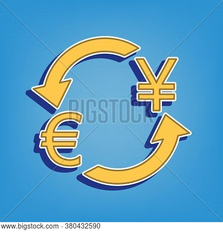 Currency Exchange Sign. Euro And Japan Yen. Golden Icon With White Contour At Light Blue Background.
