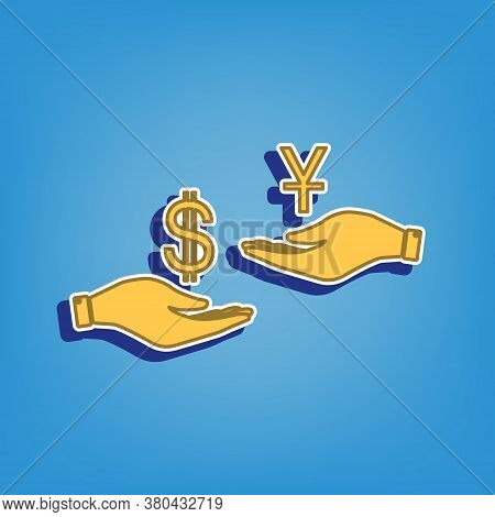 Currency Exchange From Hand To Hand. Dollar And Yuan. Golden Icon With White Contour At Light Blue B