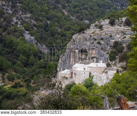 Monastery In The Side Of The Mountain, Pustinja Blaca, Deserted Remote Area On The Island Of Brac In