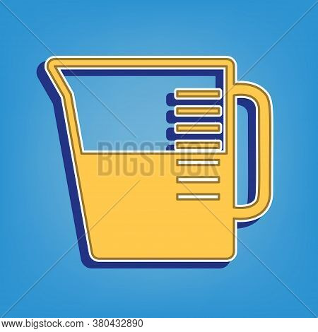 Beaker Sign. Golden Icon With White Contour At Light Blue Background. Illustration.