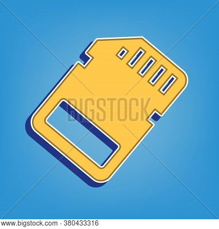 Memory Card Sign. Golden Icon With White Contour At Light Blue Background. Illustration.