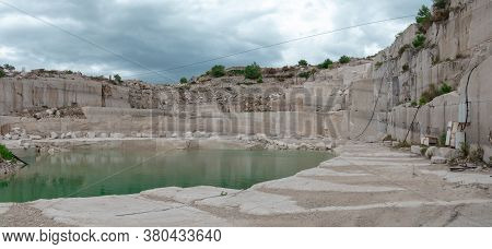 View Of A Huge Abandoned Quarry On The Island Of Brac, Croatia. Island Known For Its Beautiful Ancie