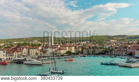Beautiful Picturesque View Of The Town Of Supetar, As Seen From The Car Ferry From Up High. Warm Sum