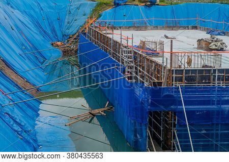 Daejeon, South Korea; August 9, 2020: For Editorial Use Only. Foundation For Building Under Construc