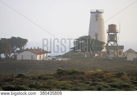 August 3, 2020 In San Simeon, Ca:  Piedra Blanca Lighthouse Which Is An Operational Lighthouse Manne