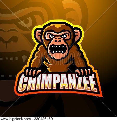 Vector Illustration Of Chimpanzee Mascot Esport Logo Design