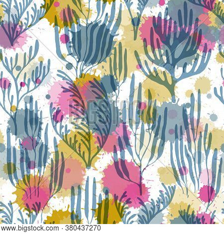 Coral Polyps Seamless Pattern. Paint Splashes Drops Watercolor Background. Underwater Plants Fabric