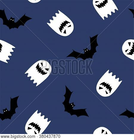 Halloween Seamless Pattern. Ghosts, Bats. Halloween Background With Ghosts, Bats. Colored Vector Pat