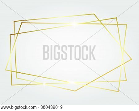 Golden Shiny Glowing Geometric Poligonal Frame Isolated Over White Background. Gold Metal Luxury Bla