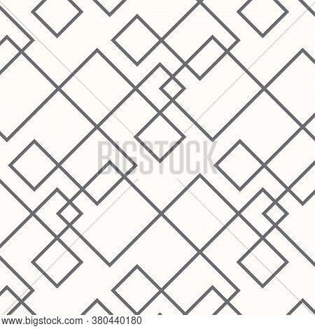 Geometric Linear Vector Pattern, Repeating Black Linear Shameless With Square Shape. Pattern Is Clea