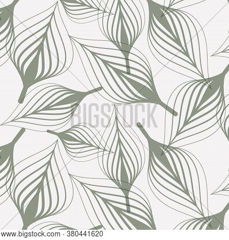 Linear Vector Pattern, Repeating Abstract Chaotic Leaf Or Leaves In Monochrome Color. Pattern Is On
