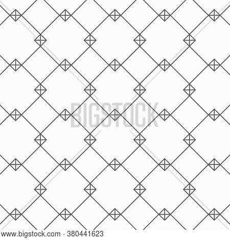 Geometric Linear Vector Pattern, Repeating Square Shape With Linear Plus Sign. Pattern Is Clean For