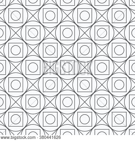 Geometric Vector Pattern, Repeating Diamond Shape And Circle On Square. Pattern Is On Swatches Panel