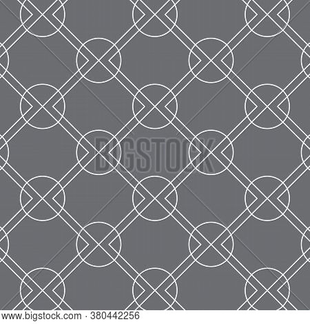 Linear Rounded Diamond Shape And Circle, Vector Pattern.pattern Is Clean For Fabric, Wallpaper, Prin