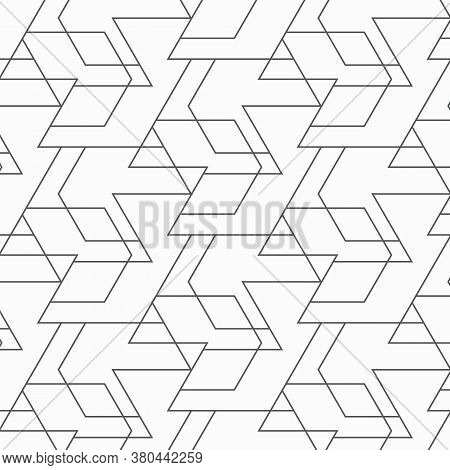 Vector Pattern With Chevron. Modern Geometric Texture. Repeating Abstract Background. Hexagon Line.