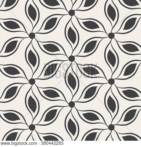 Abstract Flower Petal Drawing From Linear Ink Brush, Black And White Pattern Background