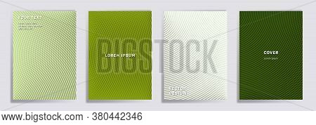 Semicircle Lines Halftone Grid Covers Vector Set. Creative Brochure Title Page Layouts. Notepad, Mag