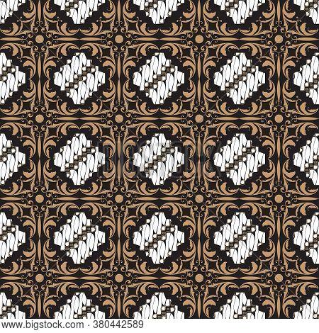Modern Motifs On Indonesian Batik Design With Elegant White Brown Color Design.