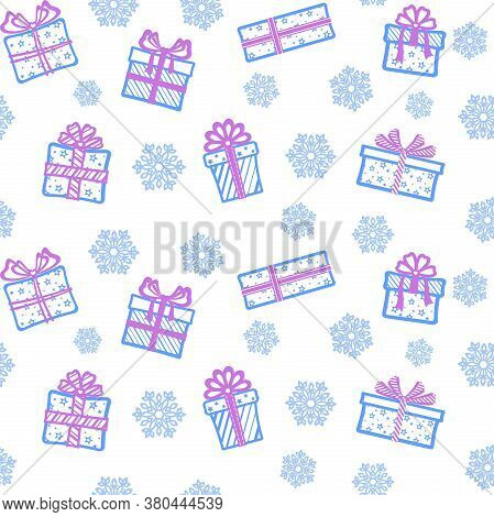 Different Blue Gift Boxes With Purple Ribbons And Bows On A White Background With Blue Openwork Snow