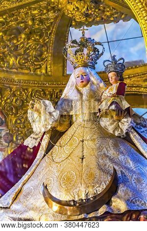 Puebla, Mexico - January 5, 2019 Virgin Mary Statue Chapel Of The Rosary Santa Domingo Church Puebla