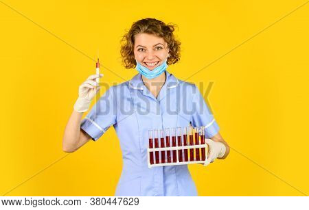 Doctor Respirator Mask. Infection Vaccine And Blood Test. Medical Worker Testing Tubes Vaccination.