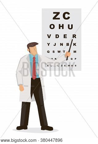 Male Ophthalmology Doctor In Uniform Pointing To An Eye Test Chart. Medicine, Optometrist Or Healthc