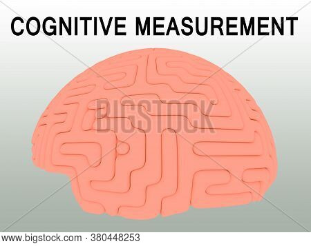3d Illustration Of Cognitive Measurement Script Above A Human Brain, Isolated Over A Green Gradient.