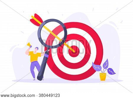 Goal Achievement Business Concept Sport Target Icon And Arrows In The Bullseye. Tiny Person With Meg