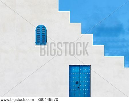 Architectural Image Of A Blue Door And Window With Stair Walls With Blue Sky, Windows And Doors Arch