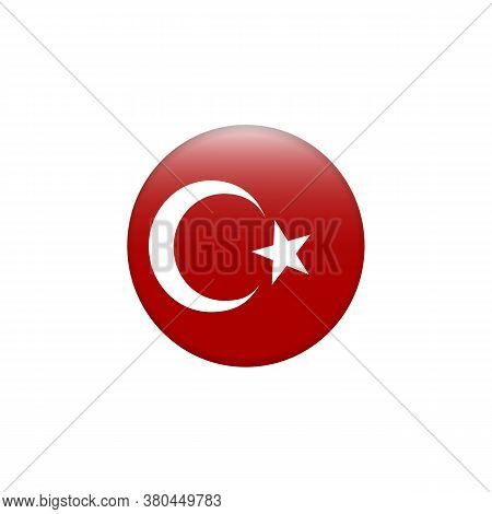 Vector Flag Button Series - Turkey. Country Symbol Isolated Flat Design