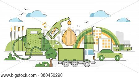 Biofuel Renewable Energy As Green Gas Industry Alternative Outline Concept. Bio Fuel Pump Station Wi