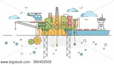Ocean Drilling Platform With Oil Rig, Tanker And Fuel Pump Outline Concept. Fossil Energy Research A