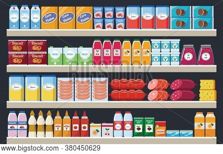 Supermarket Shelves With Assortment Products And Drinks Flat Vector Illustration.