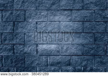 Abstract Background From Blue Brick Pattern Wall. Brickwork Texture Surface For Background. Textured