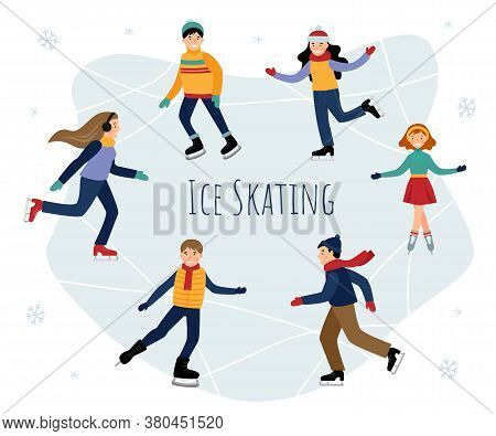 Vector Set With Children Ice Skating. Children Ice Skating On A Frozen Lake. Winter Fun.