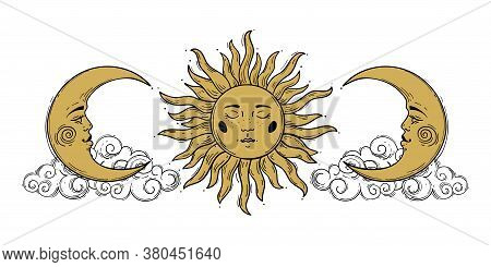 Magic Concept, Vintage Sun And Crescent Pattern With Face, Gold And Black, Engraving Stylized. Illus