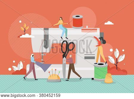 Seamstress Dressmaker Tiny Characters Sewing Apparel On Sewing Machine, Vector Flat Illustration