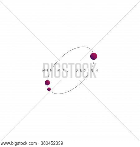 Minimal Design Logo. Planet And Satelite Vector Symbol. Thin Line Orbit Design.