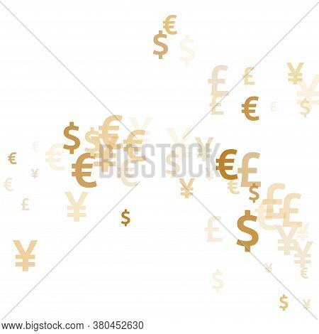 Euro Dollar Pound Yen Gold Signs Flying Money Vector Design. Finance Backdrop. Currency Pictograms B