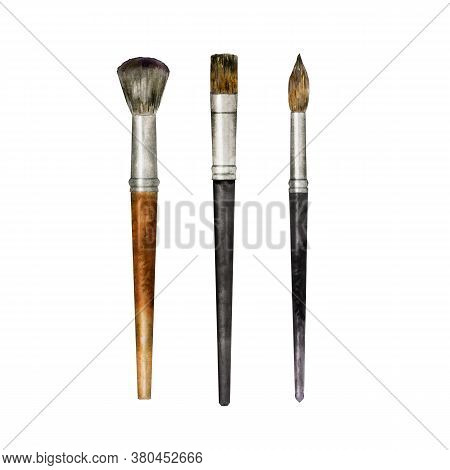 Watercolor Set Of Brush Isolated On White. Hand Drawn Painting Tool For Artist Or Make Up Applicatio